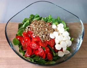 Feldsalat mit Tomaten, Mozarella und Sonnenblumenkernen